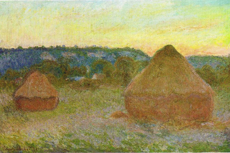 impressionist painting of hay stacks