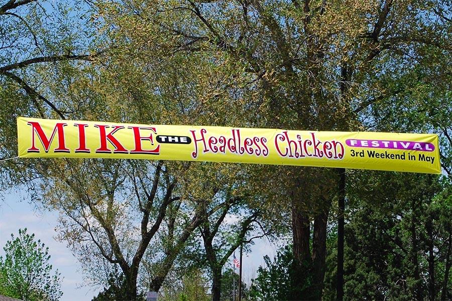 mike the headless chicken festival banner